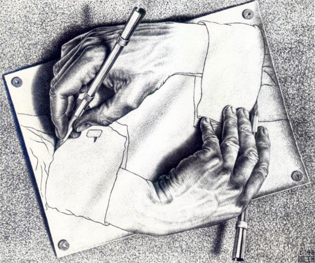 Escher M C drawing hands 1948
